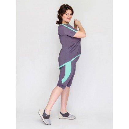 Спортивный комплект из футболки и бриджей Видж Серый Модный остров Plus size
