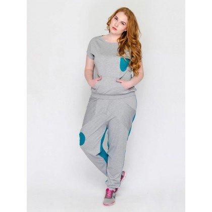 Спортивный комплект из футболки и брюк Джордана Модный остров Plus size