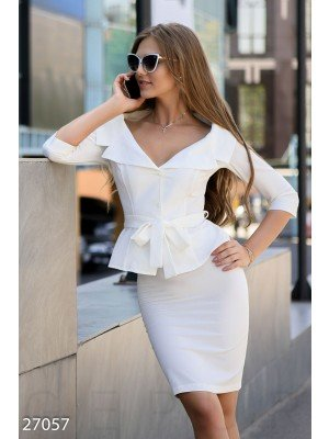 Деловой костюм с юбкой Office outfits summer Сабрина White
