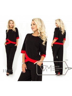 0b1a1274589e3c4 Брючный костюм из креп-дайвинга блуза с контрастными асимметричноми  вставками и рукавами